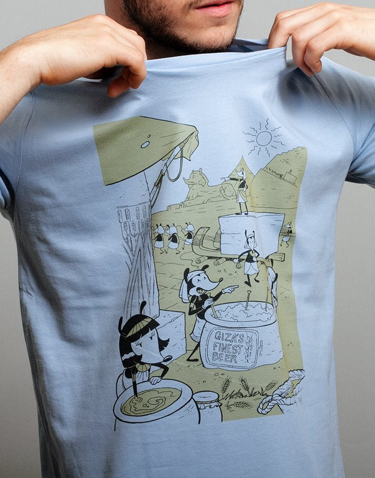 Mens beer t-shirt, 100% organic cotton, funny illustration, mens graphic tee, comic, unique designs t-shirts