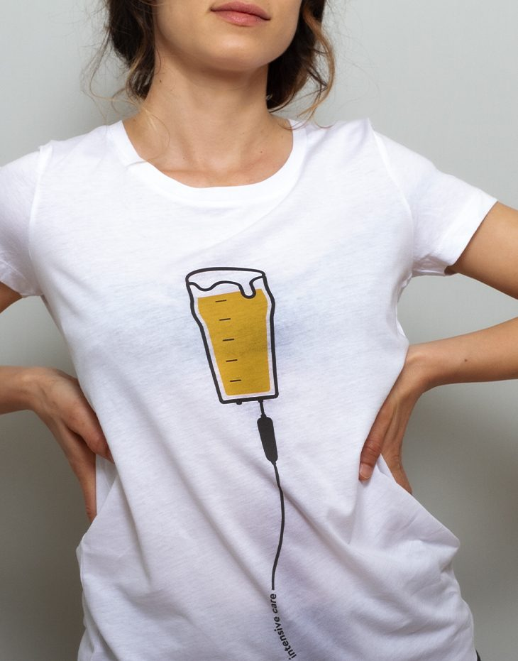 Womens beer t-shirt, 100% organic cotton, funny illustration, womens graphic tee, unique designs t-shirts